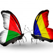 Butterflies with Madagascar and Chad, Romania flags — Stock Photo #59965005