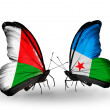 Butterflies with  Madagascar and Djibouti  flags — Stock Photo #59965349