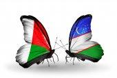 Papillons avec des drapeaux de Madagascar et de l'Ouzbékistan — Photo