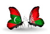 Schmetterlinge mit Malediven und Belarus-flags — Stockfoto