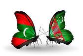 Butterflies with Maldives and Turkmenistan flags — Foto de Stock