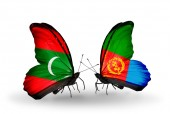Butterflies with Maldives and Eritrea flags — Stock Photo