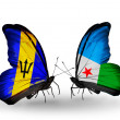 Butterflies with Barbados and Djibouti flags — Stock Photo #60198763