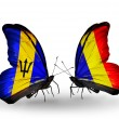 Butterflies with Barbados and Chad, Romania flags — Stock Photo #60199293