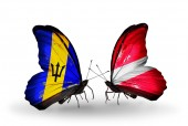 Butterflies with Barbados and Latvia flags — Fotografia Stock