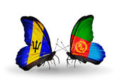 Butterflies with Barbados and Eritrea flags — Stock Photo