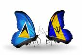 Two butterflies with flags on wings — Stock Photo