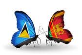 Motyle z flagami na skrzydłach — Zdjęcie stockowe