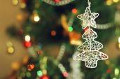 Silver christmas tree — Stock Photo