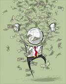 Simple Business People - Money Rain — Stock Vector