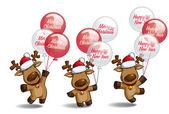Christmas Elks Balloons — Vetor de Stock