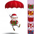 Happy Santa - Parachute Holding a Gifts — Stock Vector #59624481