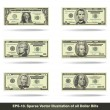 All Dollar Bills Flat — Stock Vector #72749305