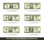All Dollar Bills Flat — Stock Vector