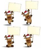 Christmas Elks Placard — Stock Vector