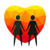 Lesbian couple — Stock Vector