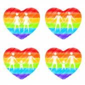 Family rainbow hearts — Stock Vector