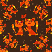 Red cats seamless background — Stock Vector