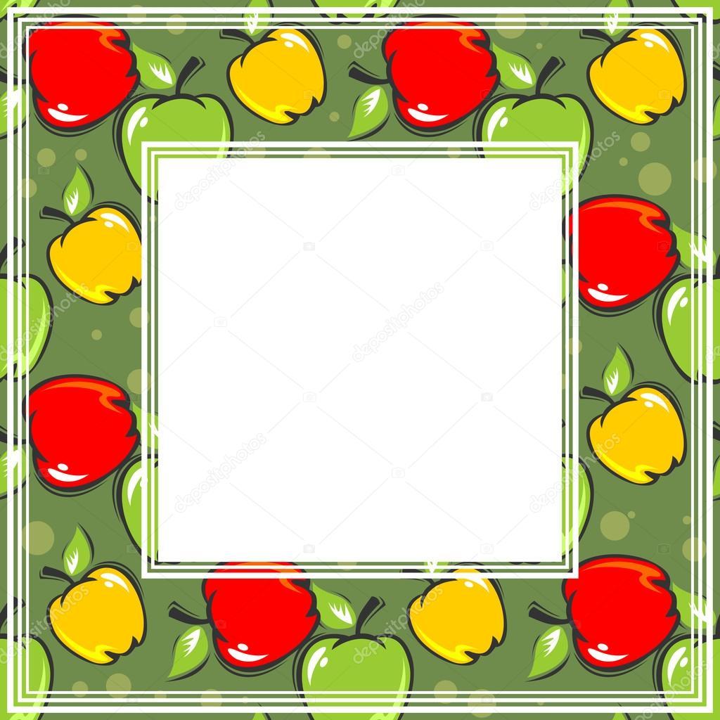 在绿色背景上边框和水果