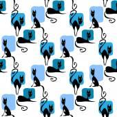 Black cats seamless pattern — Stock Vector