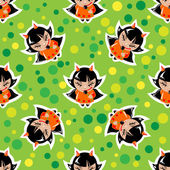Halloween girls seamless pattern — Stock Vector