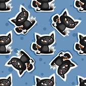 Kara kediler sorunsuz arka plan — Stok Vektör
