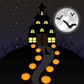 Castle witches and pumpkins on Halloween — Stock Vector