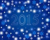 Neues Jahr 2015 auf blauem Hintergrund mit Schneeflocken — Stockvektor