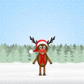 Reindeer in the winter forest Christmas — Stock Vector