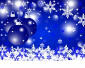 Blue Christmas background with Christmas balls and snowflakes — Stock Vector