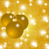 Gold Christmas background with Christmas balls — Stock Vector