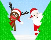 Christmas reindeer and Santa Claus in forest — Stockvector