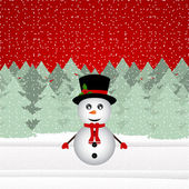 Snowman in a Christmas forest — Stock Vector