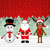 Santa Claus, a reindeer and a snowman — Stock Vector