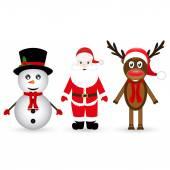 Santa Claus, a reindeer and a snowman — Stockvector