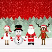 Santa Claus, reindeer, snowman and sheep — Stok Vektör