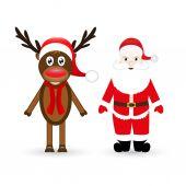 Reno de navidad y santa claus — Vector de stock