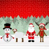 Santa Claus, reindeer, snowman and sheep — Vetorial Stock