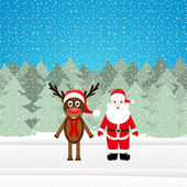 Kerst rendieren en santa claus — Stockvector