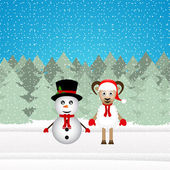 Snowman and Christmas goat — Stock Vector