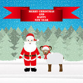 Santa and sheep in the Christmas forest — Stock Vector
