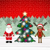 Reindeer and Santa Claus with Christmas tree — Vetorial Stock