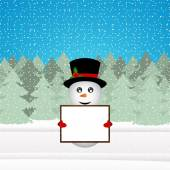 Snowman holding a banner in the forest — Stockvector