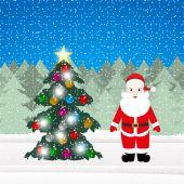 Santa claus i choinka ozdoby — Wektor stockowy