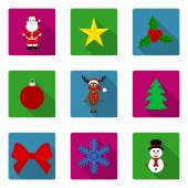 Set of flat icons Christmas and New Year — Stockvektor