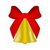 Christmas bell with red bow  — Stock Vector