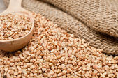 Scattering of buckwheat and old bag — Stock Photo
