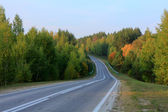 Asphalt road disappearing into the horizon on background of meadows forests and blue sky — Stockfoto