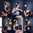 Collage girl posing with musical vinyl record — Stock Photo #58650467