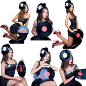 Collage girl with vinyl disk isolated — Стоковое фото